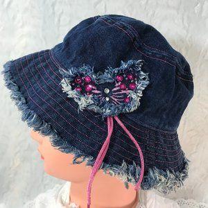 Vintage Denim Bucket hat Frayed raw edge Dark